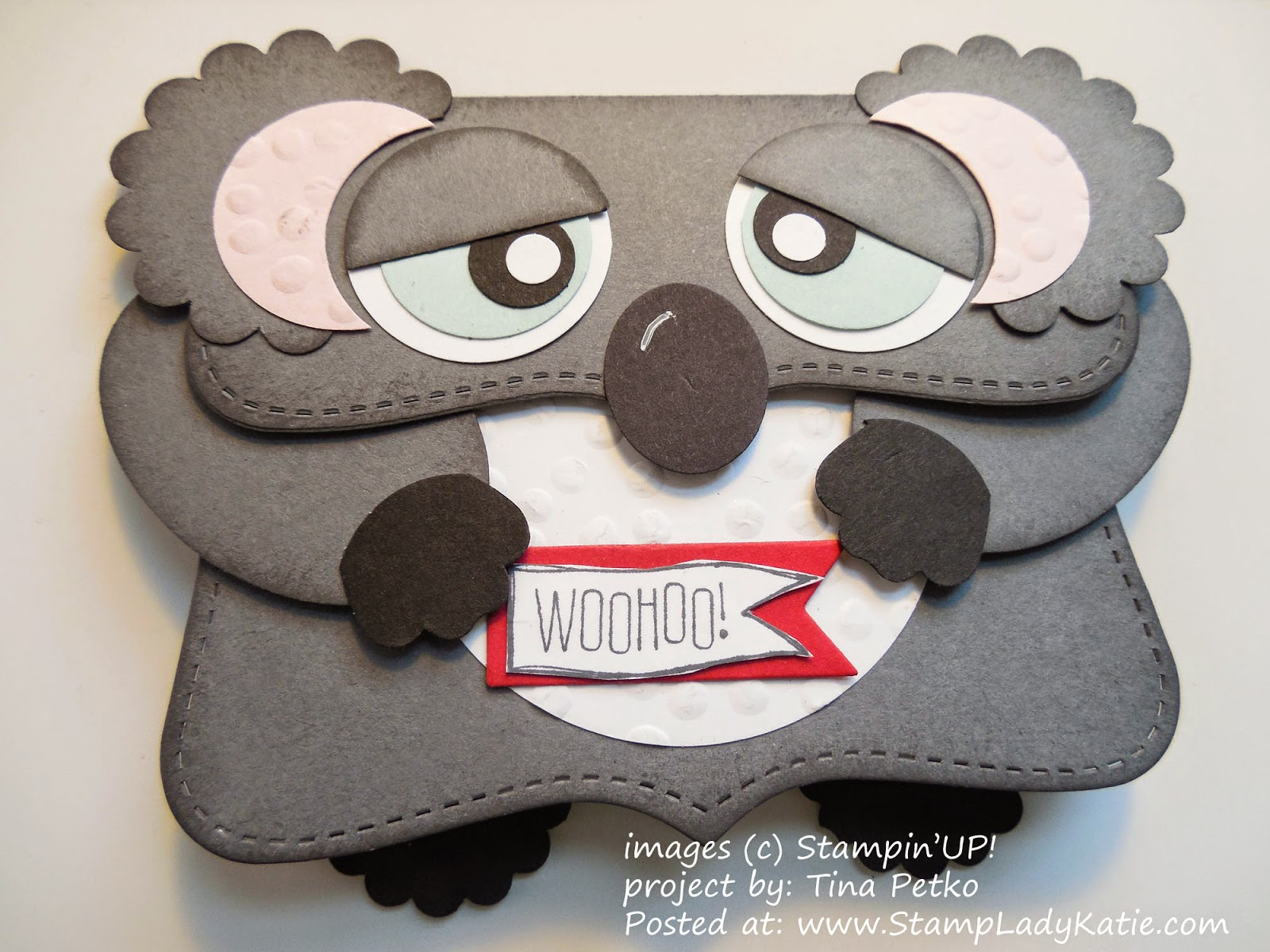 Punch Art Koala Bear card made with the Top Note Die
