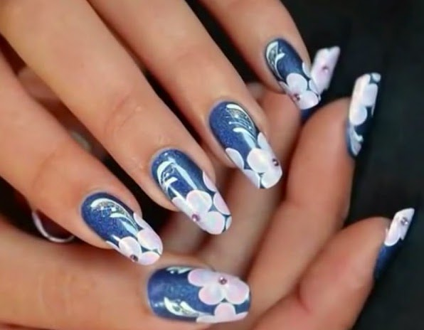 ONE STROKE FLOWERS NAILS ART