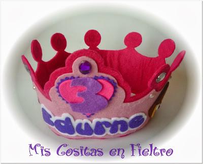 corona de cumpleaños, fieltro, corona, dora