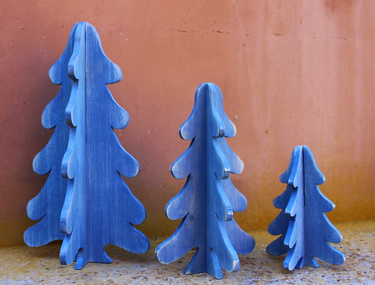 3 d wooden christmas trees