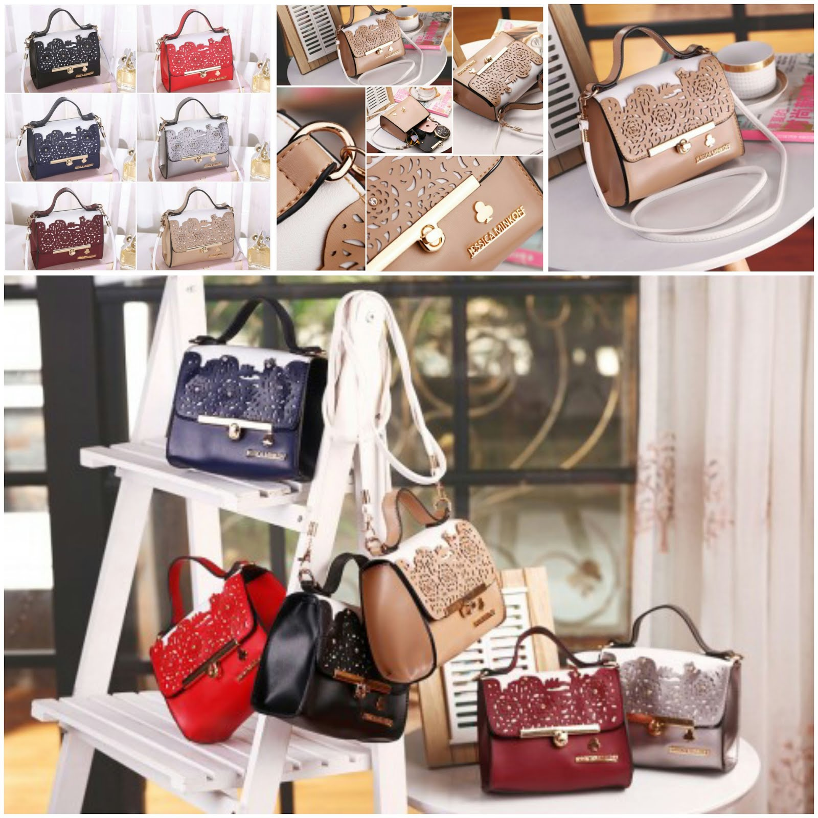JESSICA MINKOFF BAG - BLACK , BLUE , KHAKI , SILVER , MAROON , RED