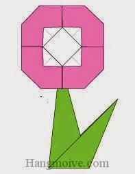 Bước 12: Dùng keo dán cánh hoa hoàn thành ở bước 5 với cành hoa hoàn thành bước 11 để hoàn thiện cách xếp bông hoa bằng giấy origami đơn giản - kiểu 2.