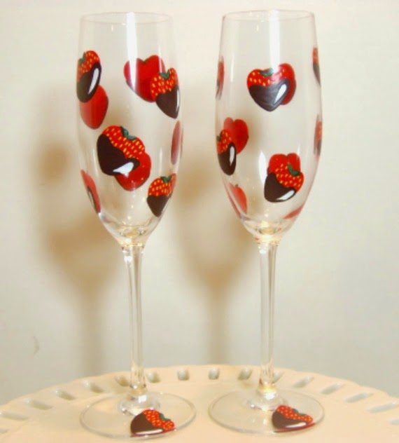 Chocolate Covered Strawberries painted champagne flutes