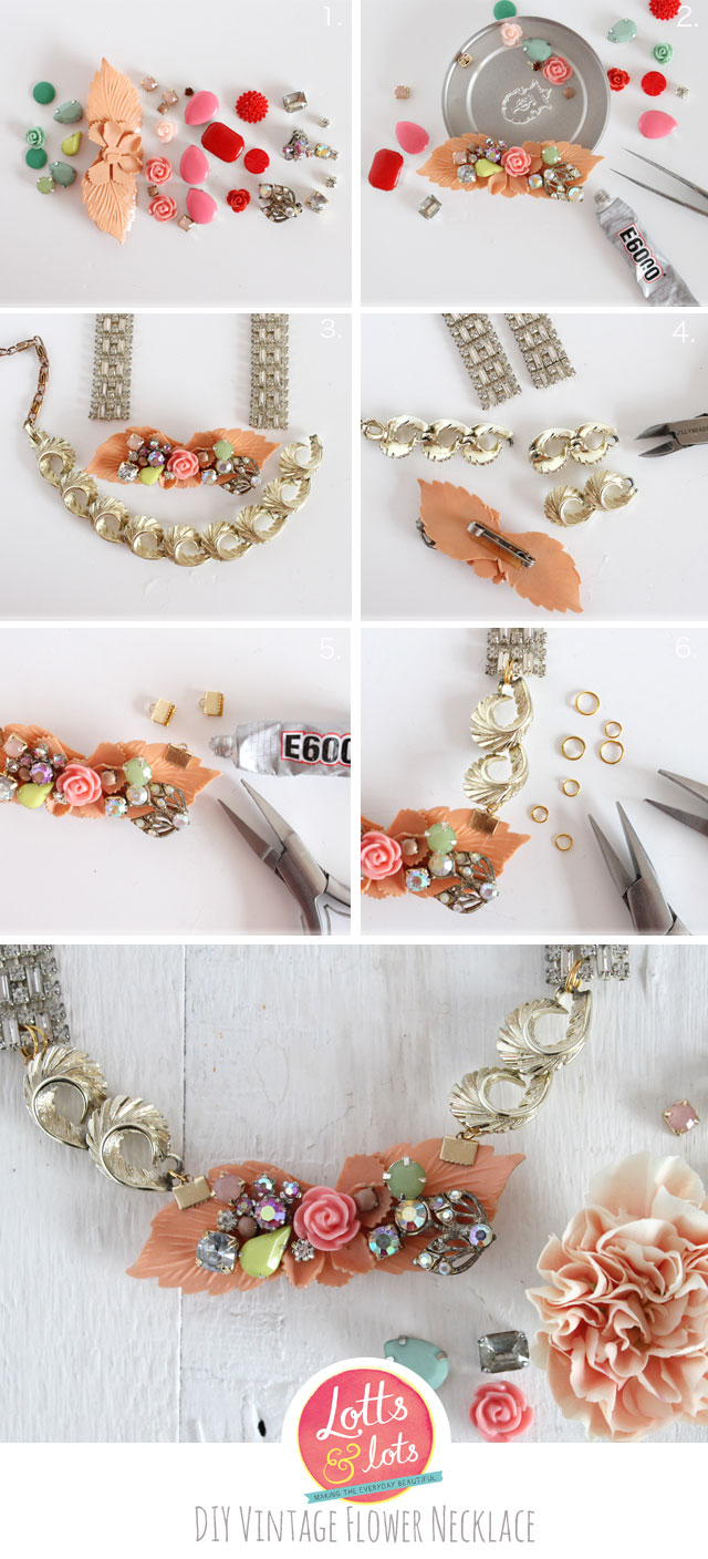 DIY - vintage diamante and flower necklace | Lotts and Lots ...