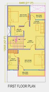 Golf Country, Yamuna Expressway :: Floor Plans,Golf Villa (100 sq. yd.):- First Floor Plan Plot Area: 771.45 Sq. Ft.