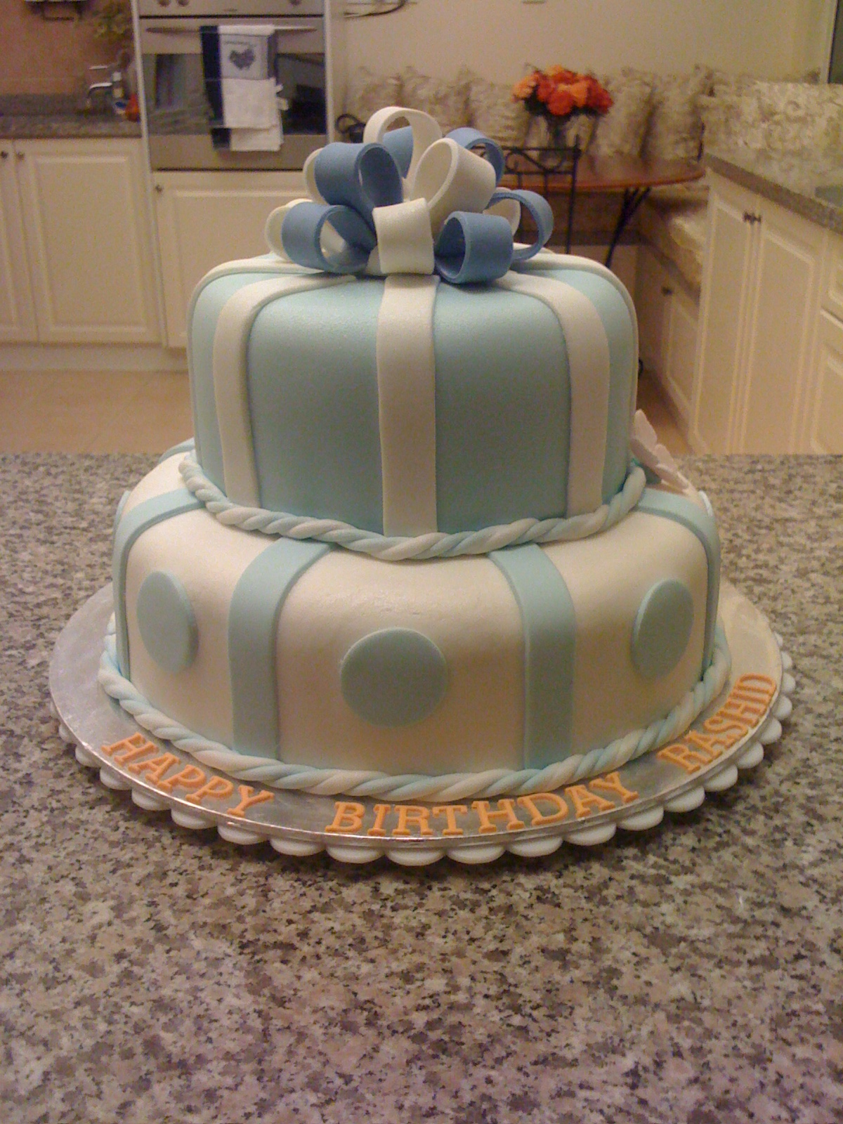 CAKE CUPBOARD 2 Tier Birthday cake light blue and white with