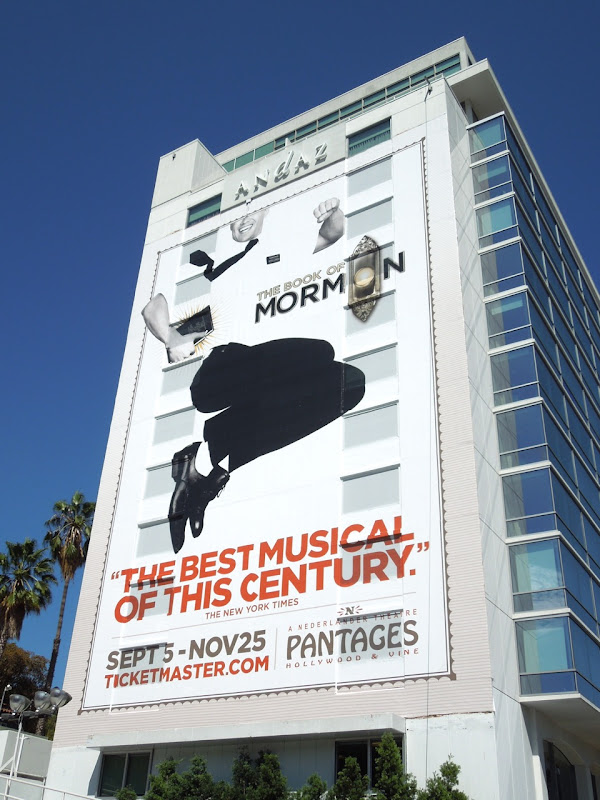 Giant Book of Mormon musical billboard Sunset Strip