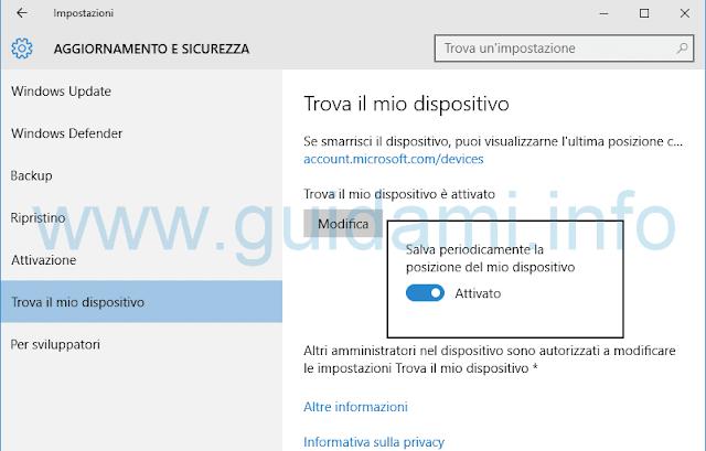 Windows 10 attivare Trova il mio dispositivo