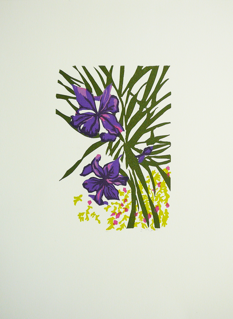 making handmade books new linocut print irises. Black Bedroom Furniture Sets. Home Design Ideas
