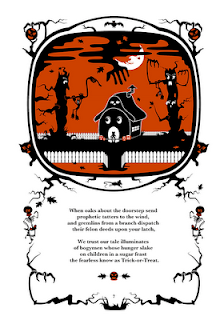 The Pumpkin Dream: A Cautionary Tale By Mr. Bumble Bindlegrim (page 7), an illustrated Halloween poetry book by Robert Aaron Wiley