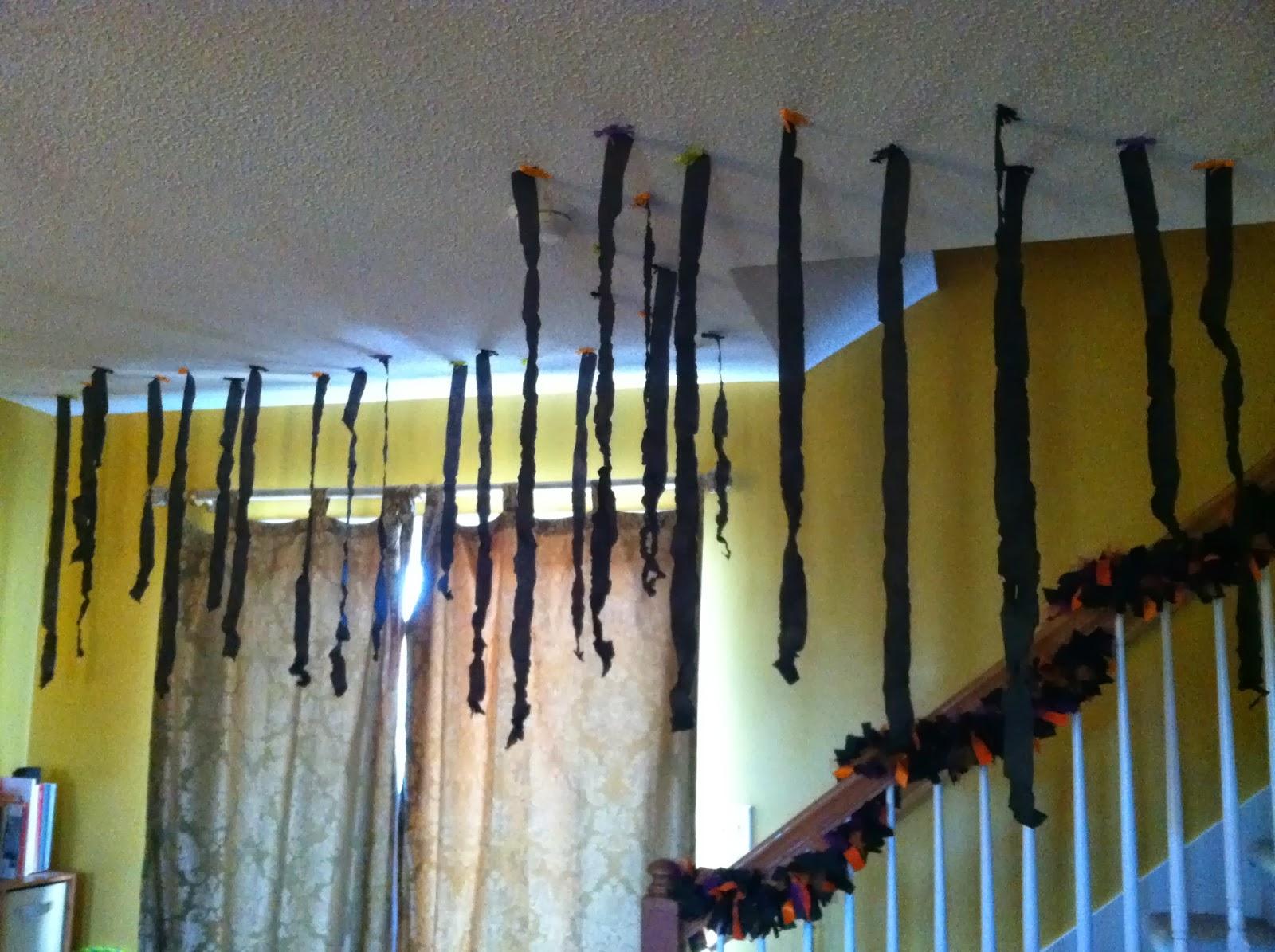 halloween decorating diy spooky ceiling streamers - Halloween Ceiling Decorations