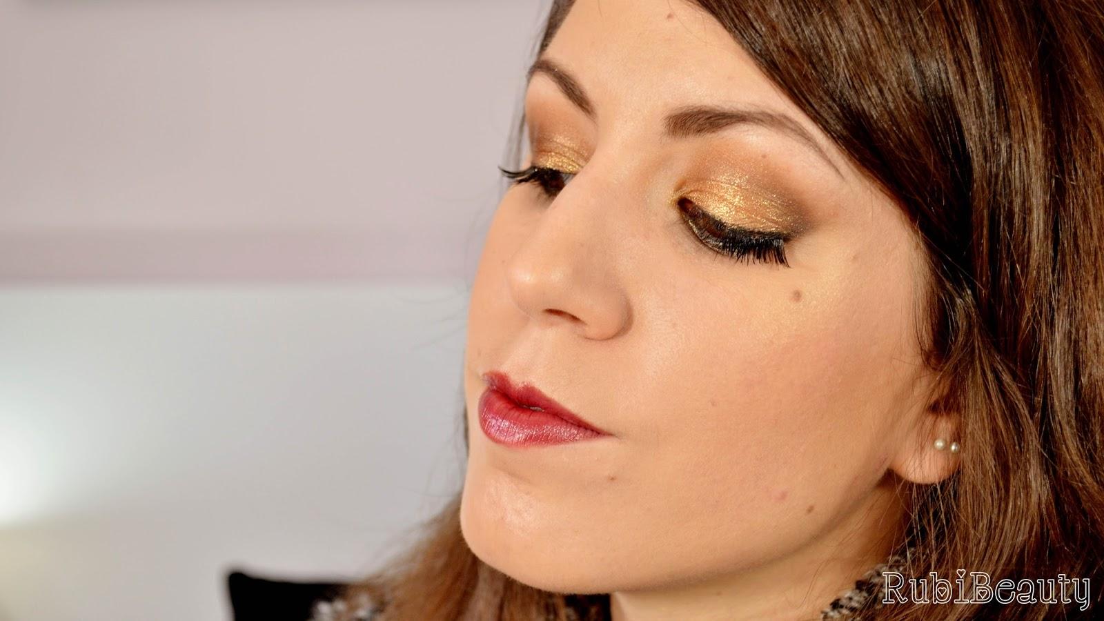 rubibeauty maquillaje dorado makeup look gold fiestas navidad christmas fin de año