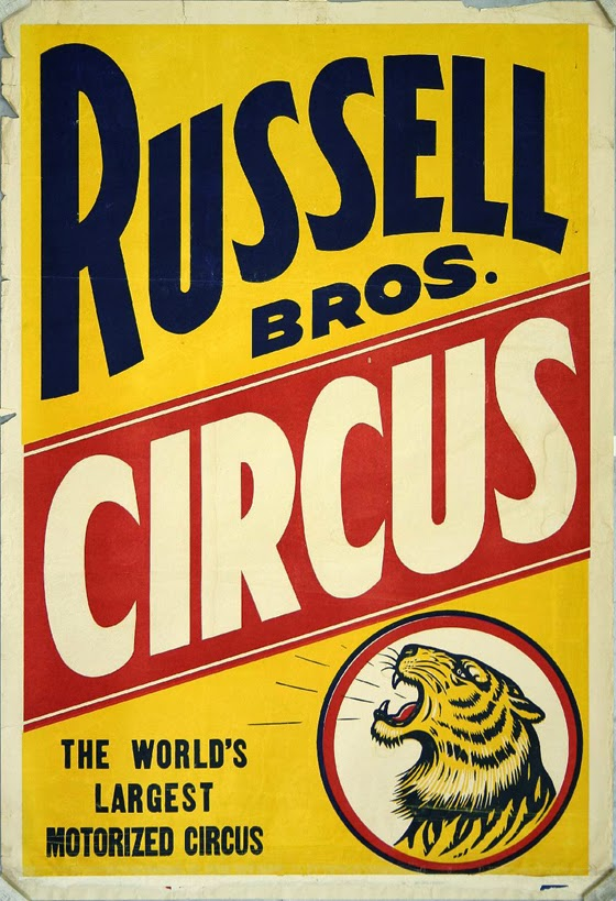 animal poster, circus, classic posters, free download, free printable, graphic design, printables, retro prints, vintage, vintage posters, vintage printables, wildlife, Russel Bros Circus, The World's Largest Motorized Circus - Vintage Circus Poster