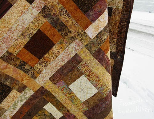 Brown batik quilt closeup at Freemotion by the River