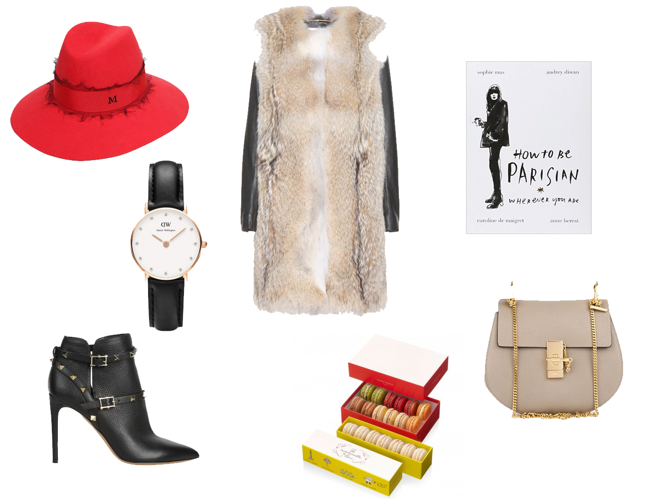 saint laurent, fur and leather, maison michel, valentino, daniel wellington, chloé, drew bag, how to be a parisian, pierre hermé, macaroons,wish list, christmas present