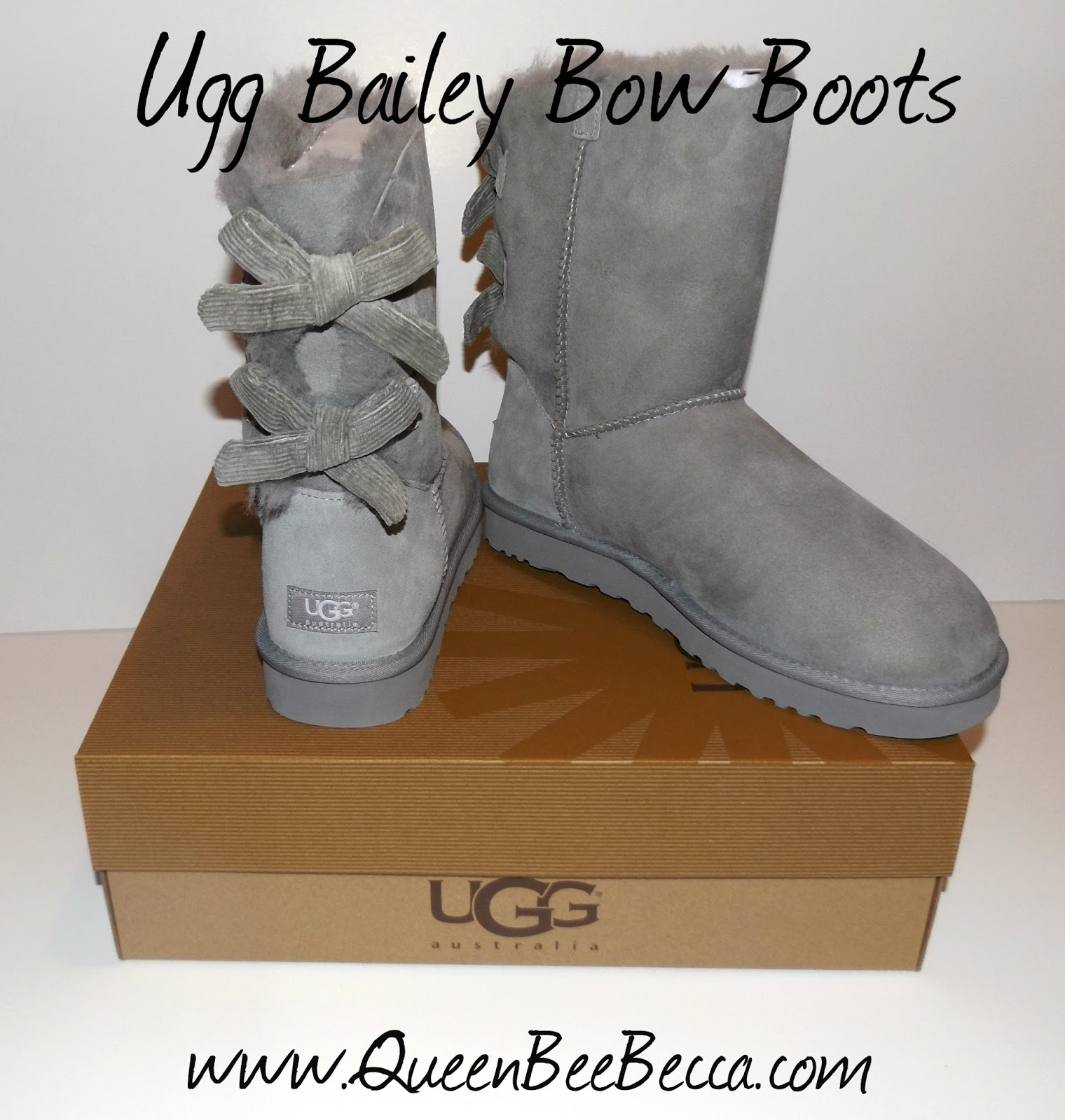 black uggs with one bow