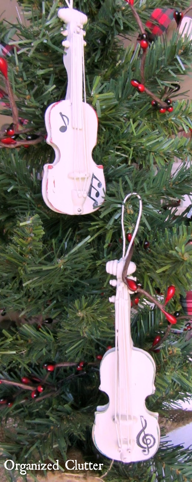 Upcycled Violin Ornaments with Paint & Mod Podge Transfer www.organizedclutterqueen.blogspot.com