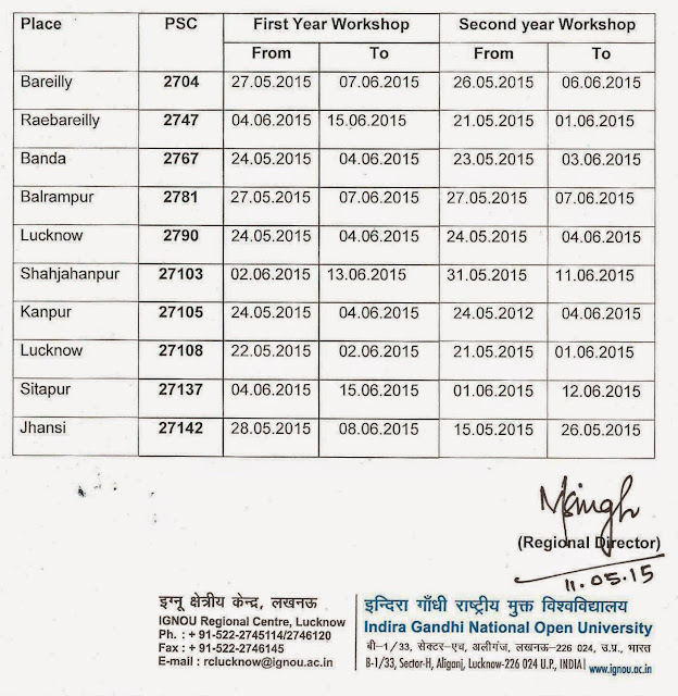 IGNOU RC Lucknow Announces Schedule of B.Ed workshop