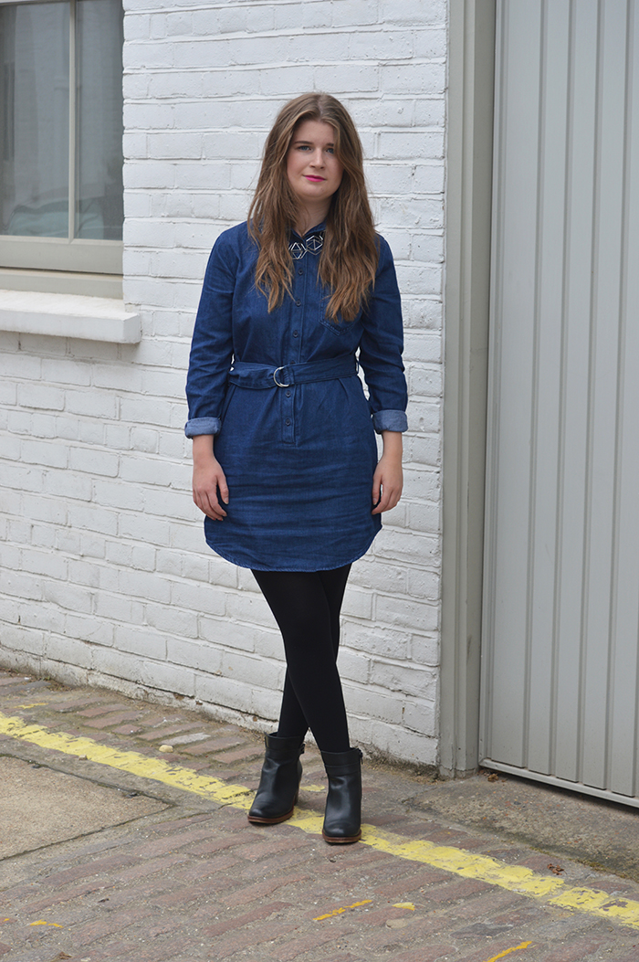 Topshop denim dress bloggers