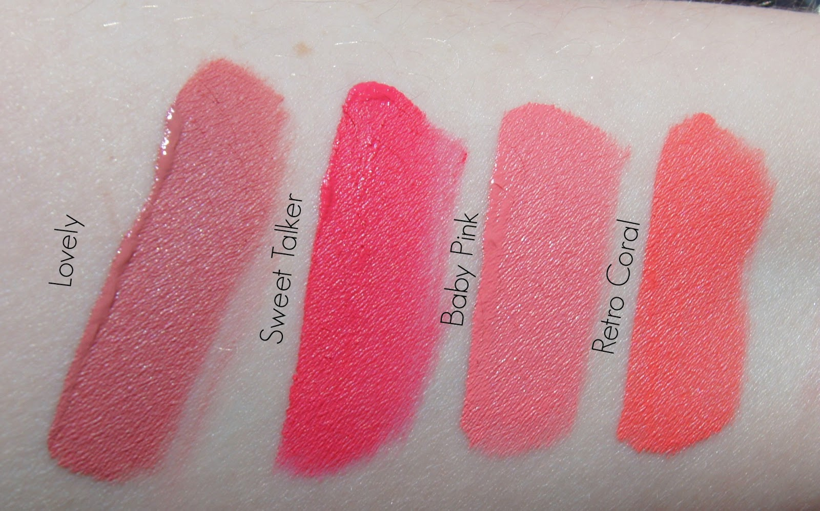 Anastasia Liquid Lipsticks-Lovely, Sweet Talk, Baby Pink and Retro Coral