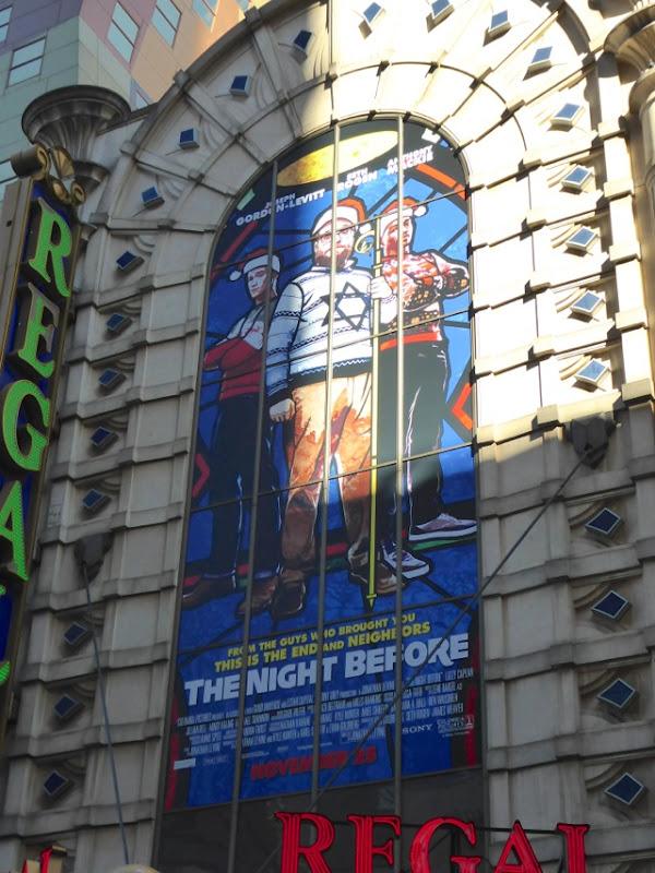 Night Before movie billboard NYC