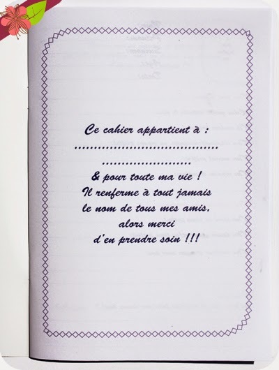 Mon cahier d'amitiés - Mercilili !