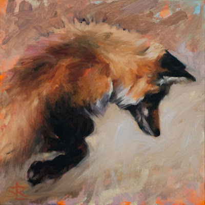 Red fox pouncing painting oil on panel urban wild Shannon Reynolds