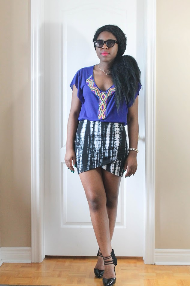 canadian fashion blogger, african american blogger, personal style, fab candy clothing, wrap skirt, tie dye