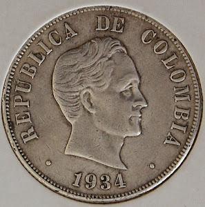 MONEDA REPUBLICA DE COLOMBIA 1934-PLATA LEY 0,900 PESO 12,5 GR $ VENDIDA