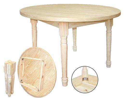 Pino sur mesa redonda con patas desmontables - Patas para mesas redondas ...