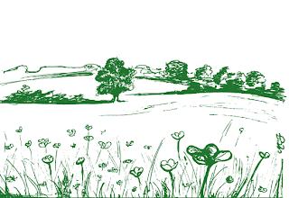 Un disegno artistico di campi coltivati