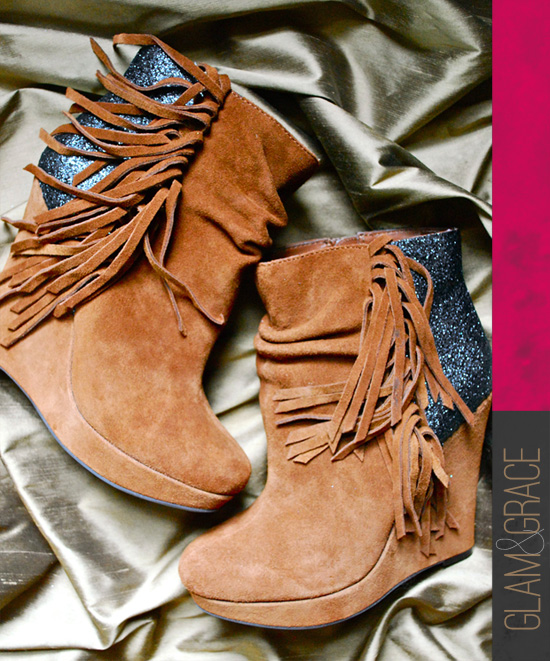 DIY glitter backed wedge boots - finished look