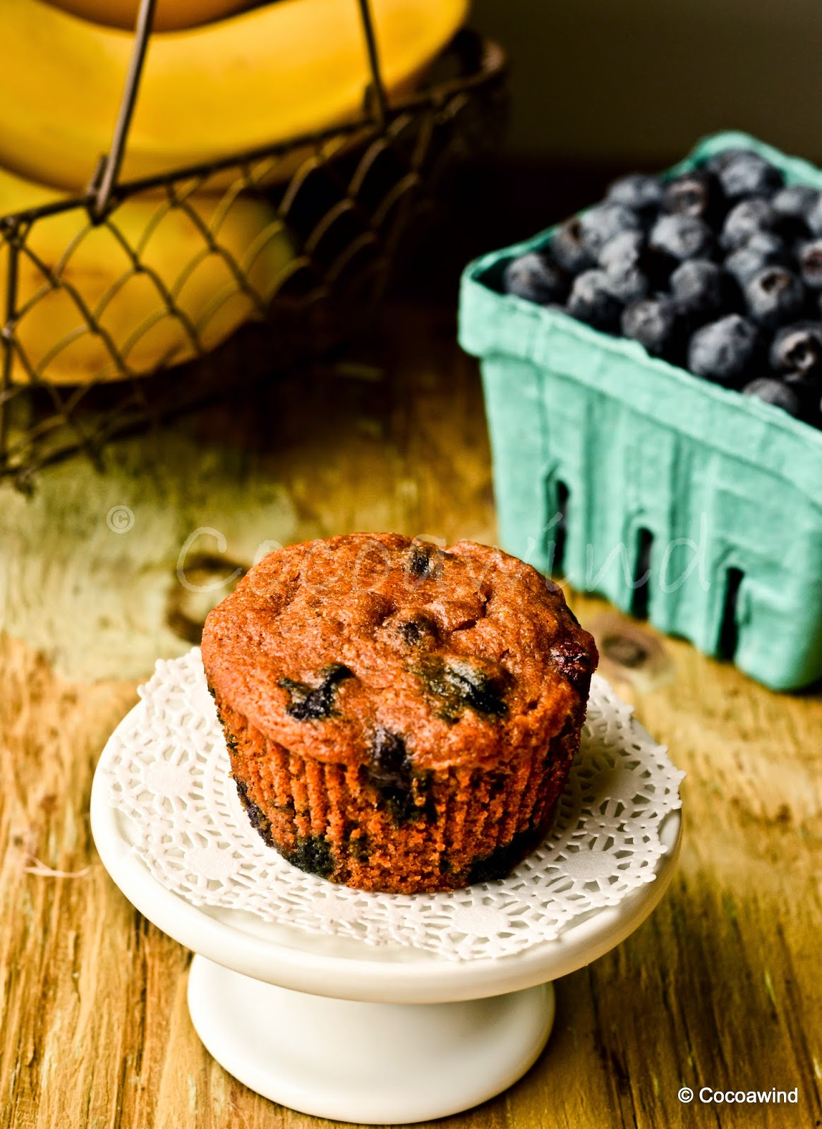 Eggless Blueberry Banana Whole-wheat Muffins