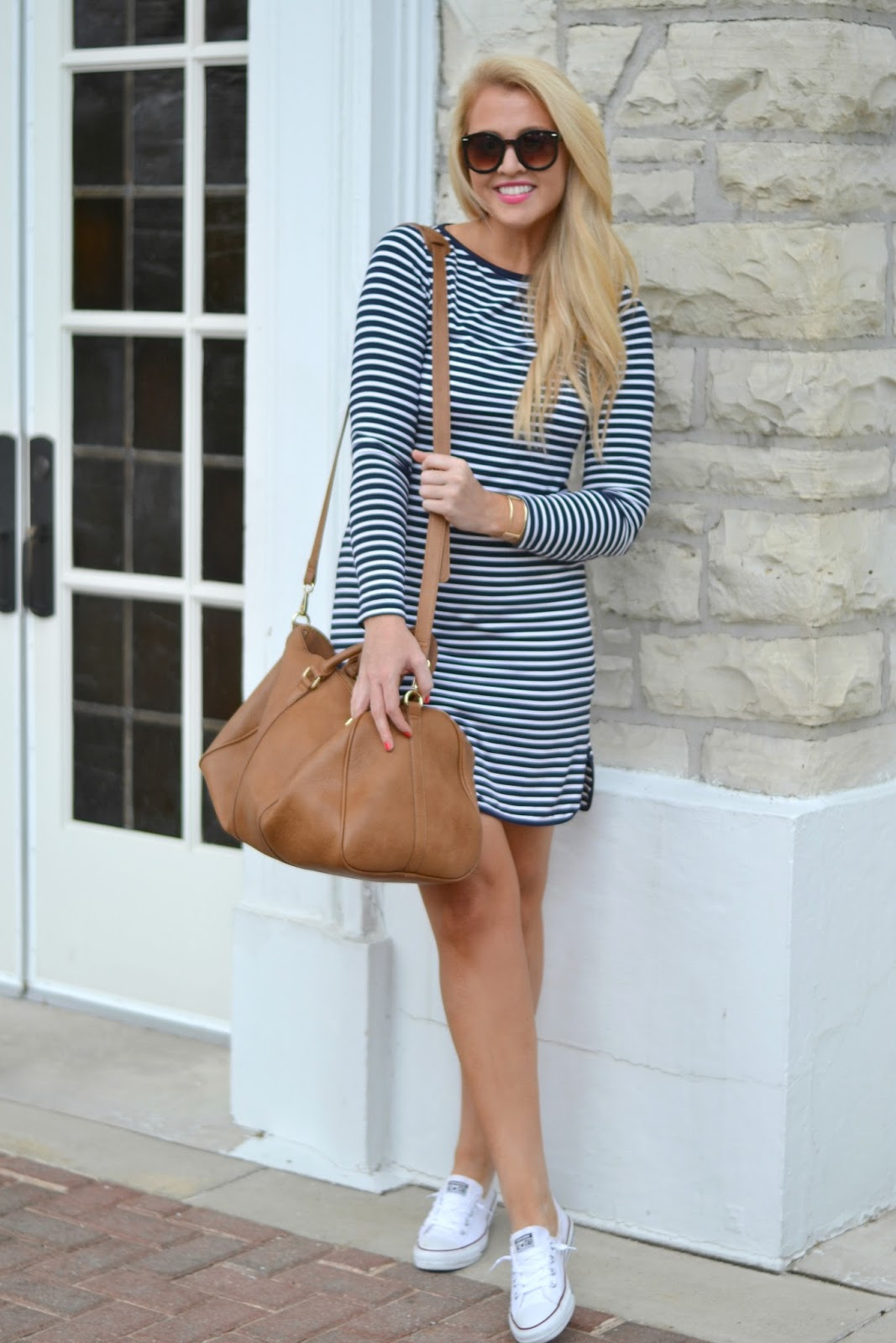 navy and white stripe dress weekend outfit
