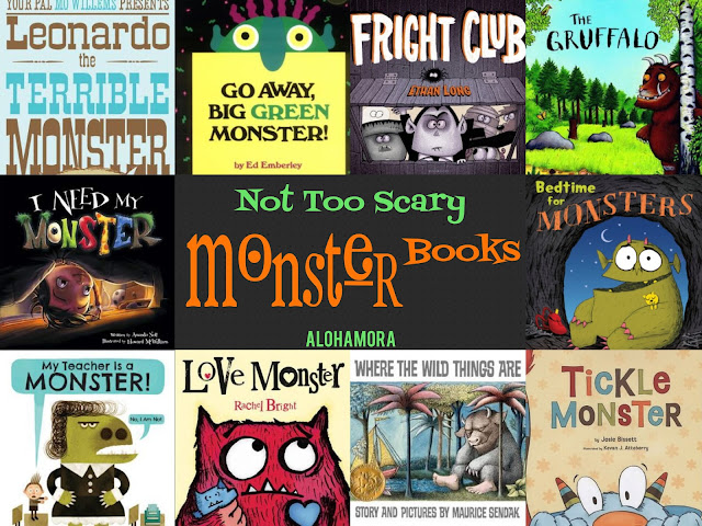 This Monster Book List is full of lovable fun monsters that are Not Too Scary or actually not scary at all.  They are just fun books, great read alouds for teachers, librarians, and parents, and wonderful books to enjoy during Halloween or any time of year for the kids that loves all things Monsters/Wild Things related.  Alohamora Open a Book http://www.alohamoraopenabook.blogspot.com/ book list, picture books, kidlit, awesome stories, Caldecott, books for boys, books for girls, funny, humorous, relatable, lessons