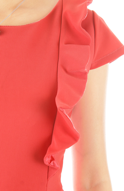 Lady Side Ruffle Peplum Dress - Coral