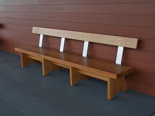 Bench for porch of the Shelburne Museum Center for Art and Education, custom furniture, benches, timothy Clark, vermont furniture makers