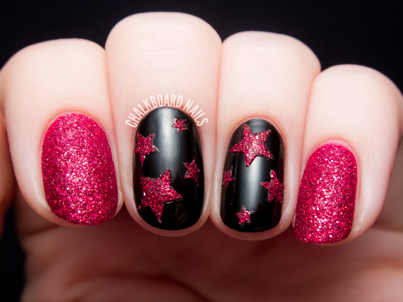 Textured Ruby Stars | Chalkboard Nails | Nail Art Blog