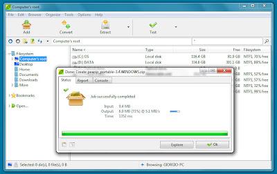 برنامج لضغط وفك الضغط عن الملفات نسخة بورتابل   Free PeaZip Portable