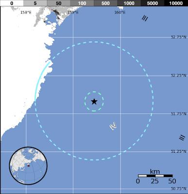 Terremoto frente a la costa sureste de Kamchatka, en el extremo oriental de la Federación de Rusia, 15 de Octubre 2012