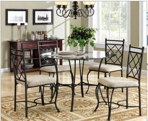 mainstays 5piece glass top metal dining set