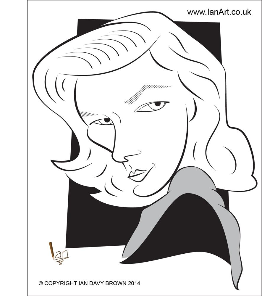 Lauren Bacall caricature
