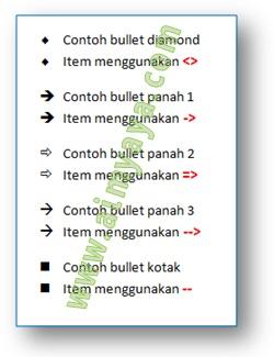Gambar: Cara cepat membuat bullet lainnya dengan memanfaatkan fasilitas autoformat di dokumen Microsoft Word: bullet diamond, panah,  dan kotak