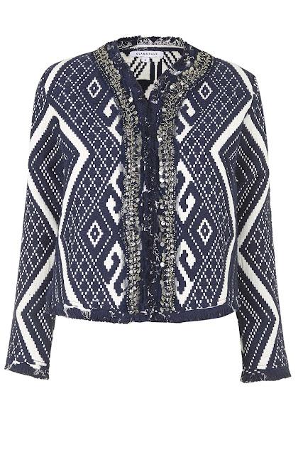 glamorous blue jacket, jacquard jacket,