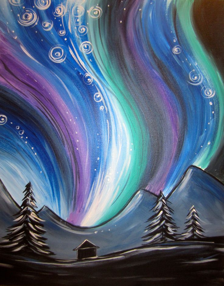 Northern lights art collection for How to paint cool designs