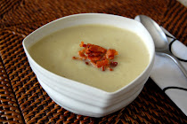 Cauliflower and Leek Soup with Crispy Bacon