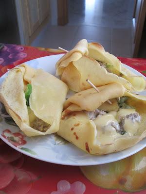 crepe, fourré, faci, viande hachée, poivron, recette, crépe, fromage,
