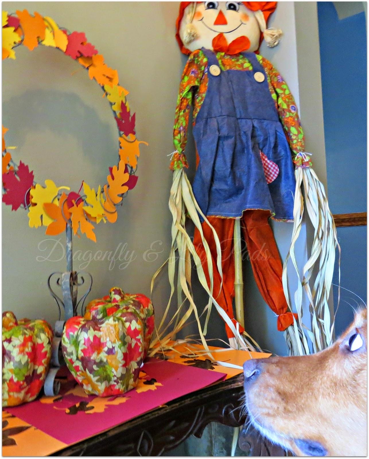 Close up of Cricket, Golden Retriever, Fall silhouette wreath, modge podge pumpkins, scarecrow, Fall Welcome decor, handmade on Shabby table