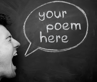 man yelling in front of chalk board with text bubble saying your poem here