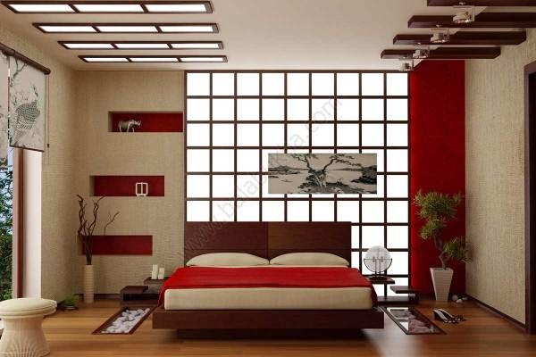 bedroom color schemes, Japanese style platform bed